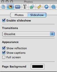 iweb slideshow settings