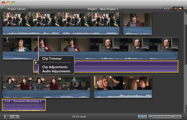 Nehmen Sie ein VoiceOver in iMovie auf