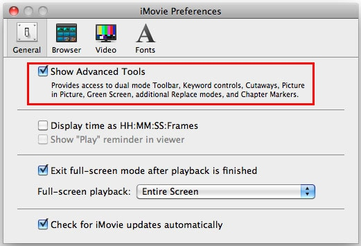 iMovie Show Advanced Tools
