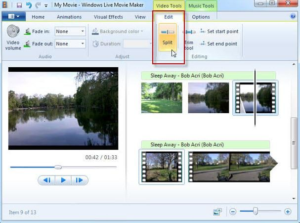 windows live movie maker split