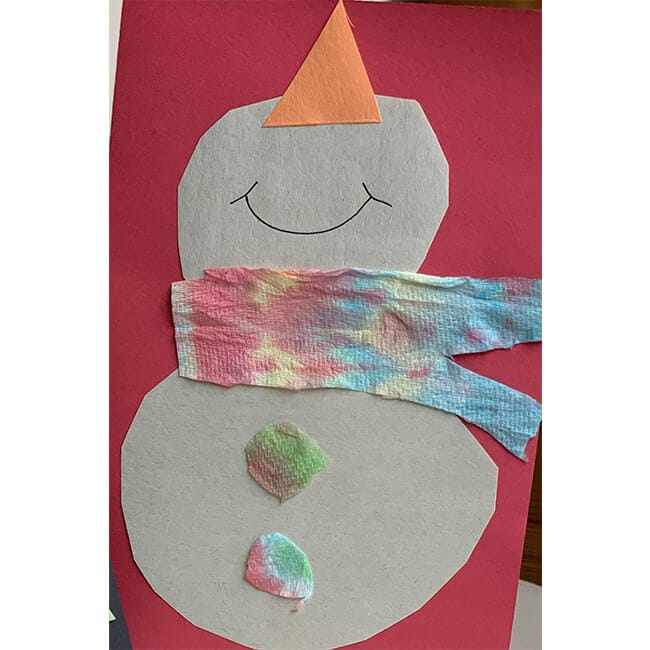 Tie-Dye Snowman Card for Kids