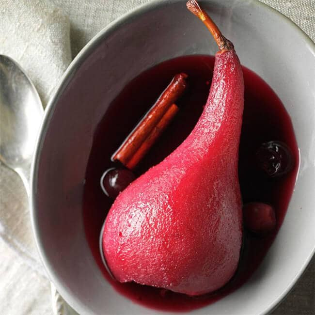 Red Wine and Poached Cranberry Pears