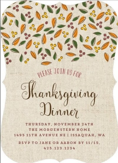 elegant Thanksgiving invitation