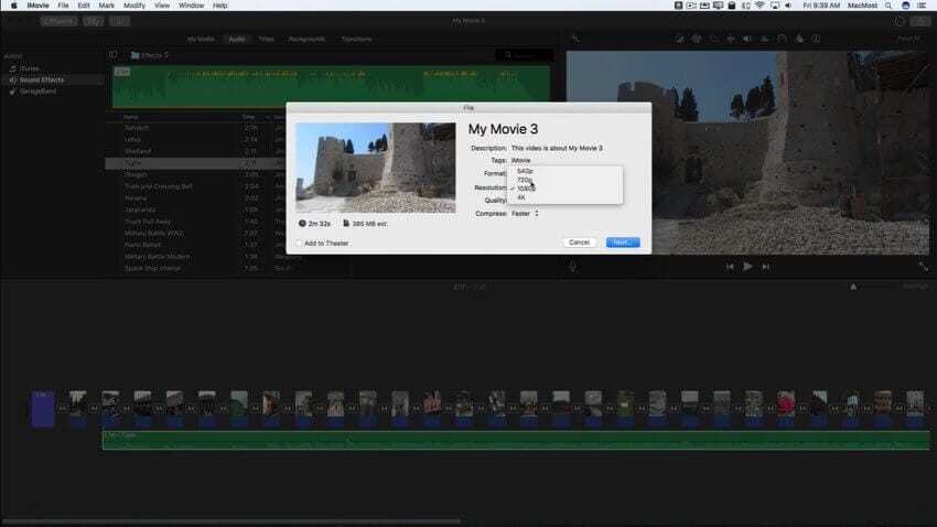 imovie slideshow 9.2