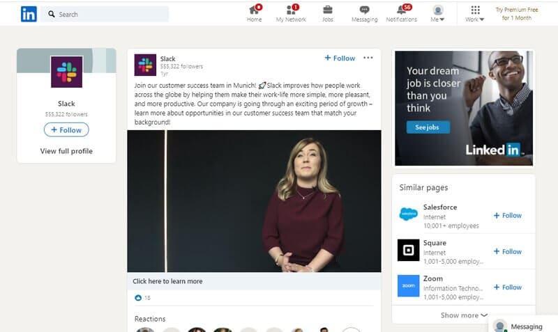 Slack LinkedIn video ad