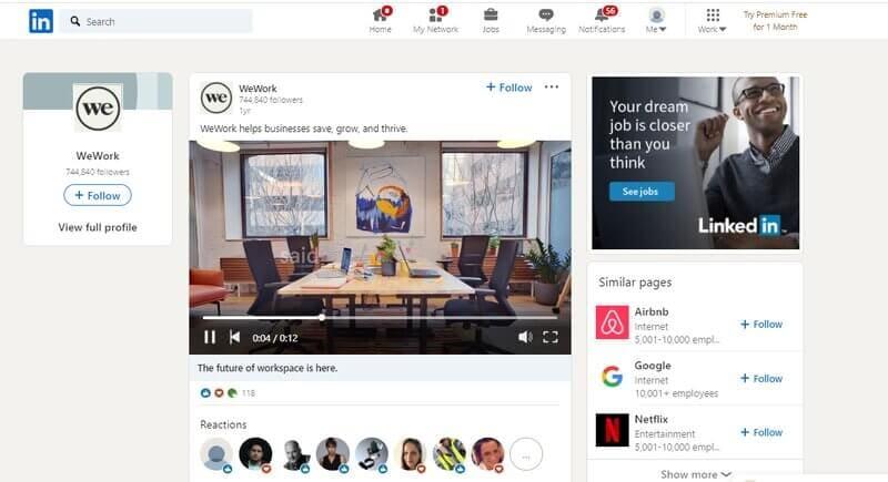 WeWork LinkedIn video ad