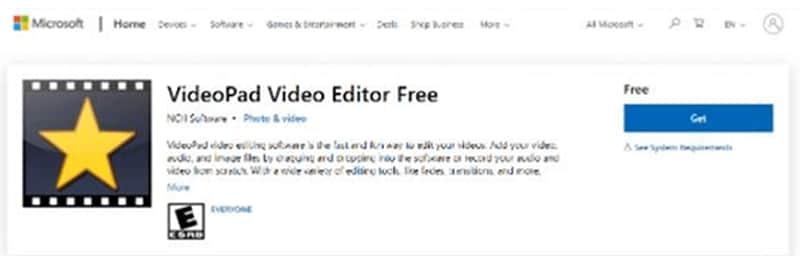"VideoPad a Windows 10 video editor"""