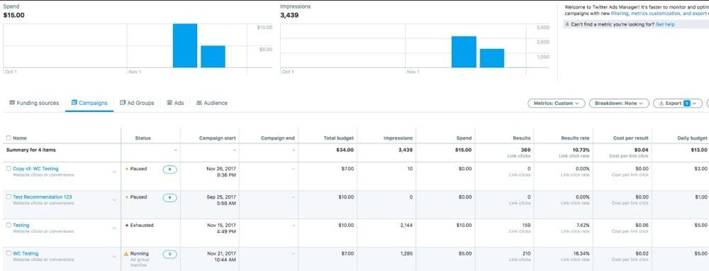 analyze twitter website card results