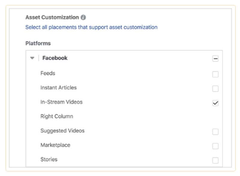 Select In-Stream Videos under Facebook