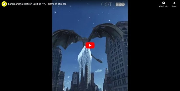 game of thrones snapchat video ad