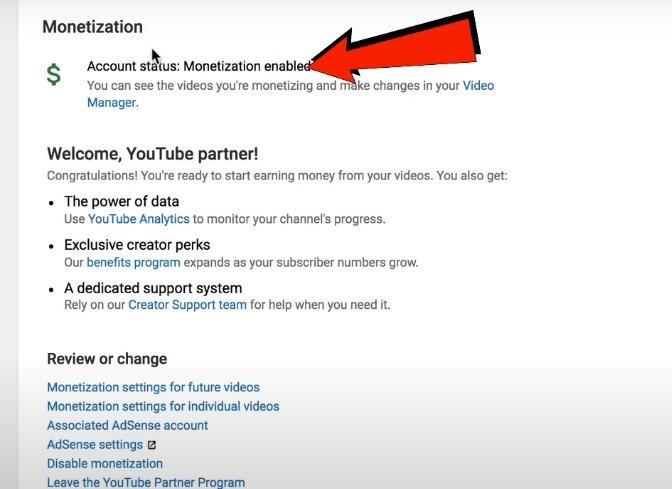 monetization tab