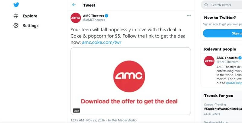 Twitter native video ad