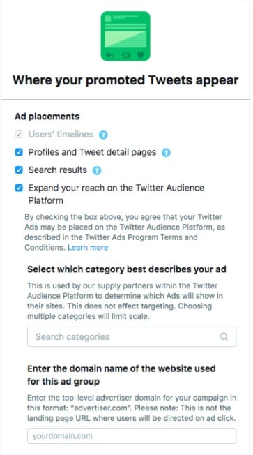 serve twitter website card click campaigns