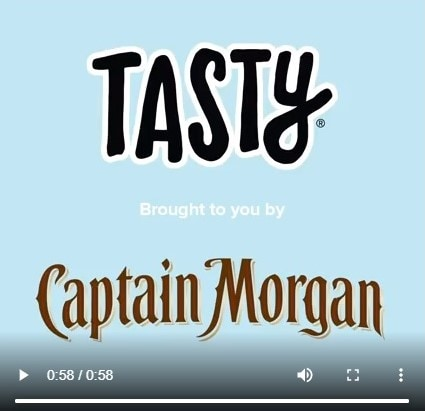 tasty and captain morgan video ad