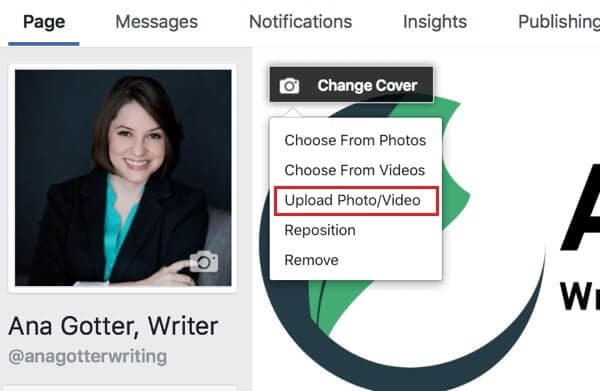 Upload video to Facebook cover