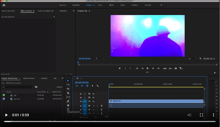 add animation text to video Adobe - step 1