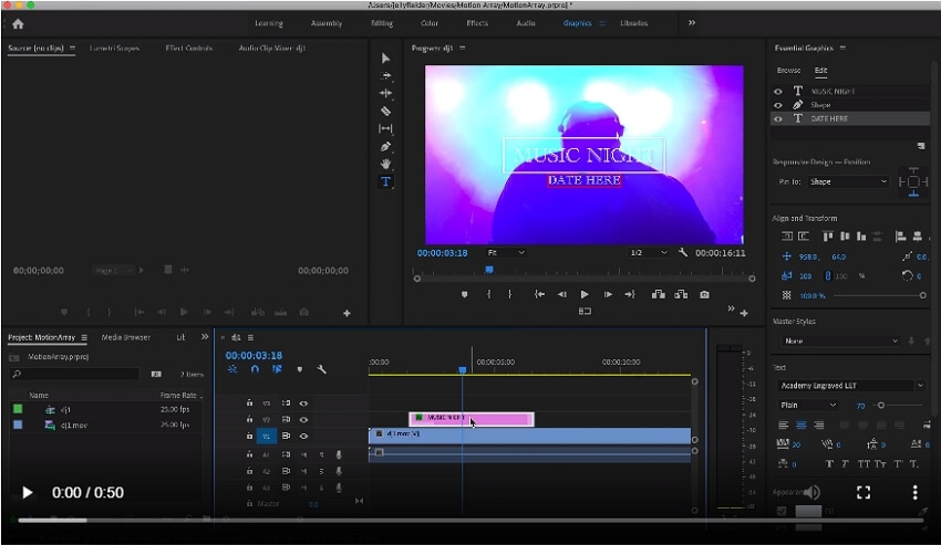 add animation text to video Adobe - step 2