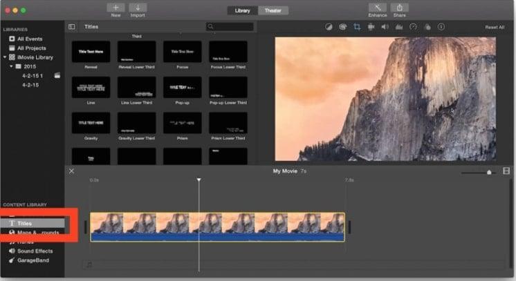 edit titles imovie step 1