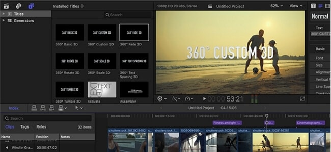 insert text into video fcp
