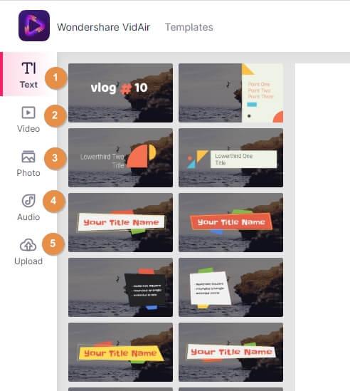 Selection of template in VidAir