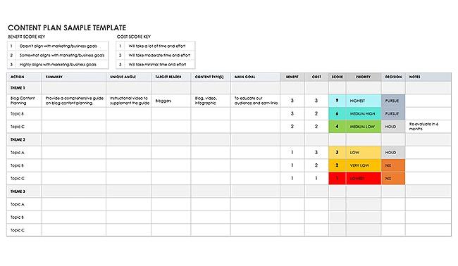sample content plan template