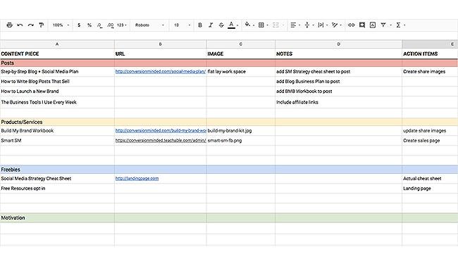 blog content planner template