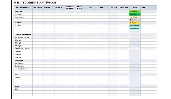 Website Content Marketing Planner Template