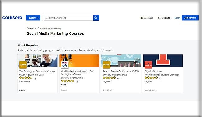 Coursera social media marketing courses