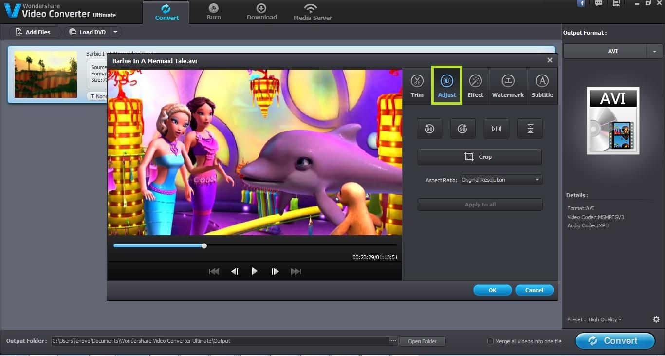 Wondershare Video Converter Ultimate User Guide - Crop Video