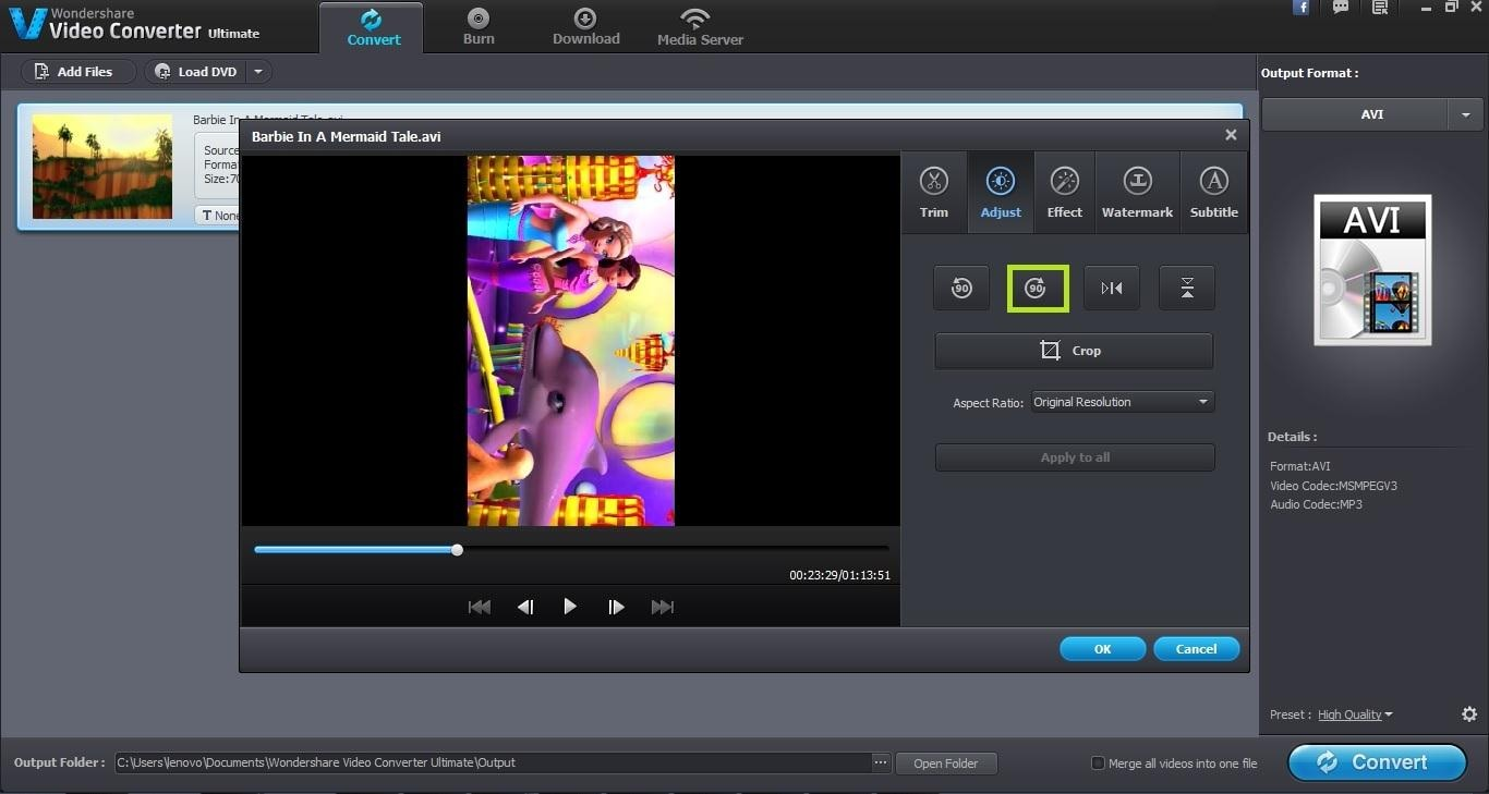 Wondershare video converter ultimate user guide rotate video horizontal the horizontal icon flips the complete video horizontally ccuart Choice Image