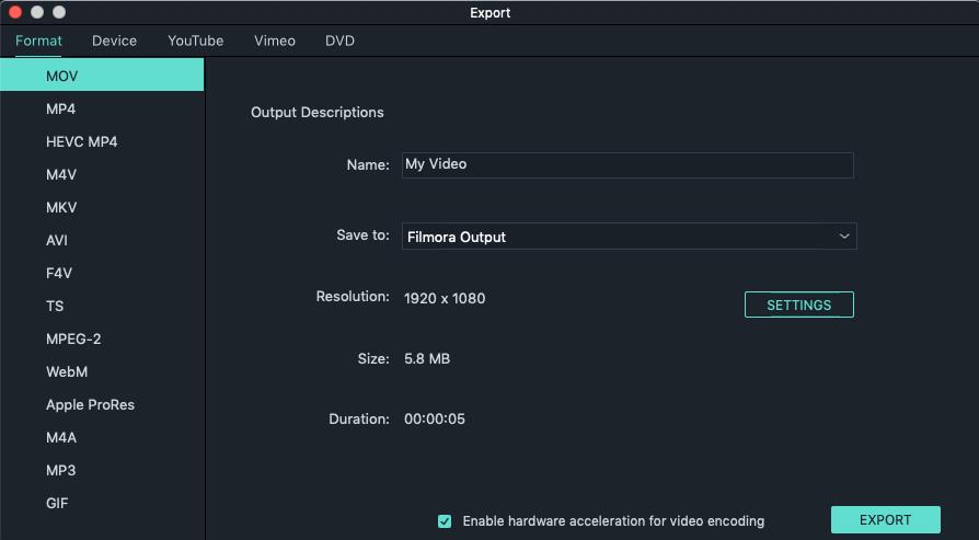 Exportieren um die geänderte Datei zu speichern