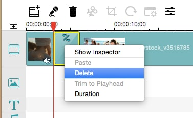 how to delete transitions in imovie