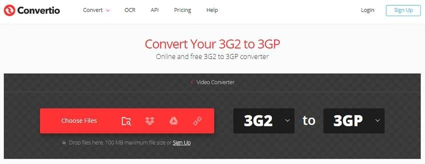 Convert 3G2 to 3GP Online with Convertio
