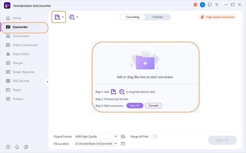Import .3g2 files to UniConverter