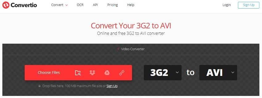 Convert 3G2 to AVI Online with Convertio