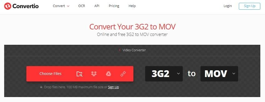 Convert 3G2 to MOV with Convertio