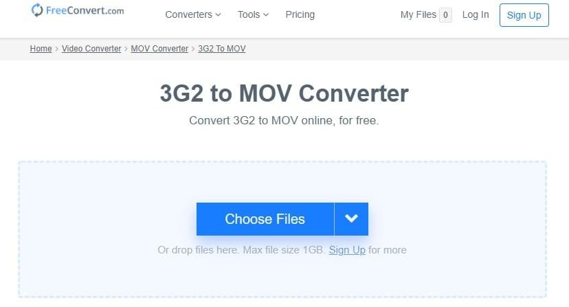 Convert 3G2 to MOV with Freeconvert