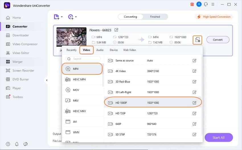 choose output format for 4k videos
