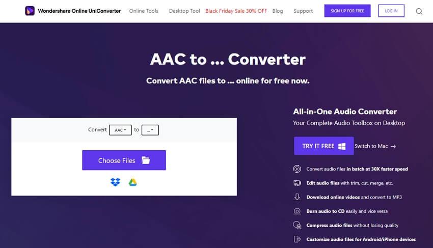 Online UniConverter to convert AAC