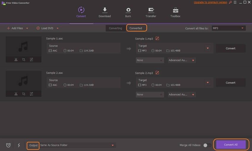 Convert AAC files with Wondershare Free Video Converter