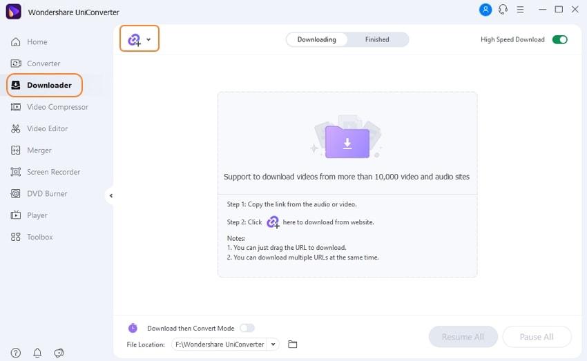 Iniciar o Wondershare UniConverter e colar o URL