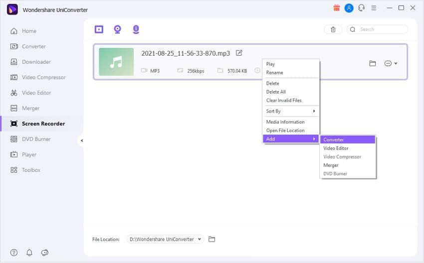 Add Recorded AAC file