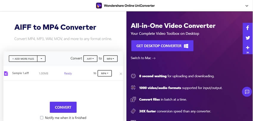 Convert AIFF to MP4 with Online UniCOnverter