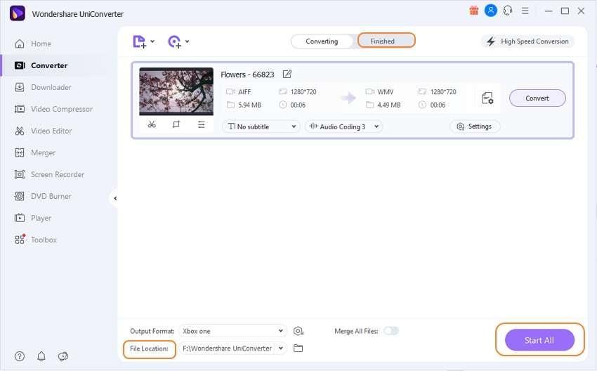 Convert AIFF files in UniConverter