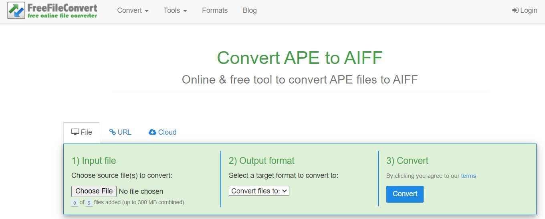 Convert APE to AIFF with FreeFileConvert