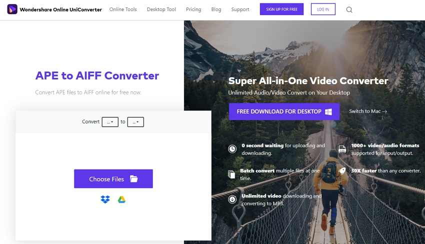 Convert APE to AIFF with Online UniConverter