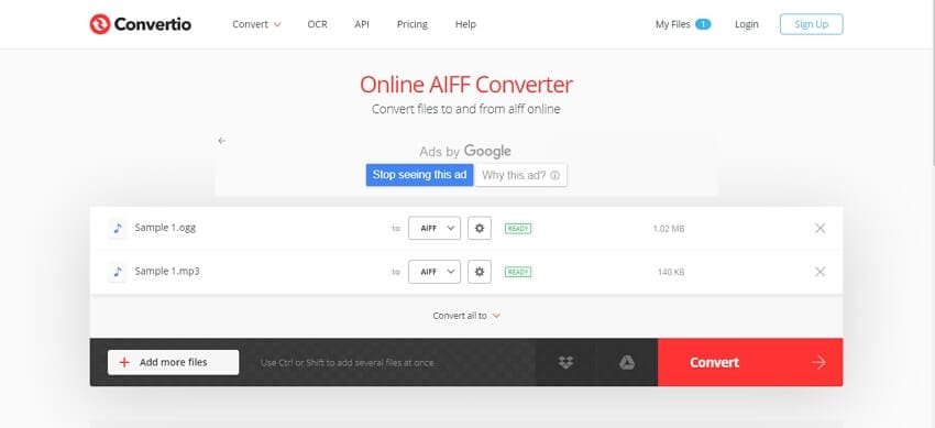Convert auido to AIFF with Convertio