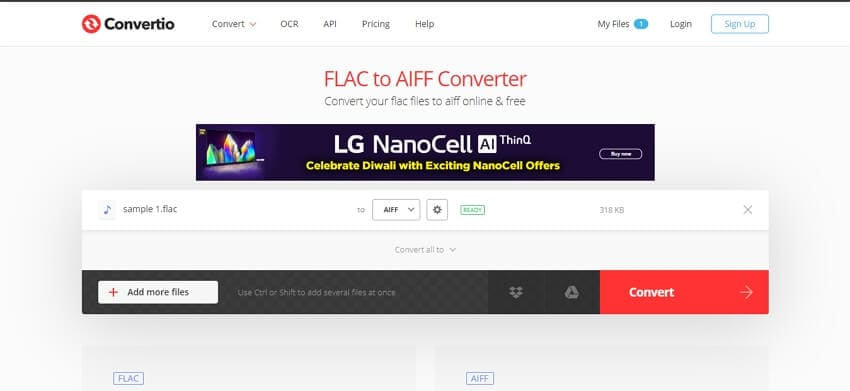 Convert FLAC to AIFF online with Convertio