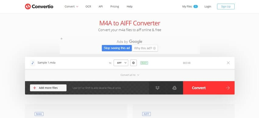 Convert M4A to AIFF online with Convertio