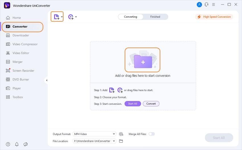Add files to Wondershare UniConverter